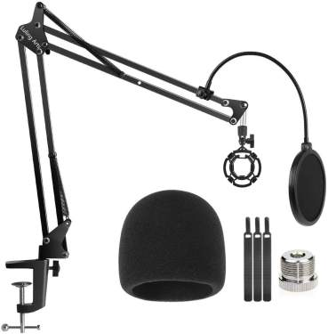 Adjustable Blue Mic Stand for Snowball iCE Studio Boom Scissor Arm Stand with Microphone Windscreen and Double Mic Pop Filter,Radio Broadcasting and Recording