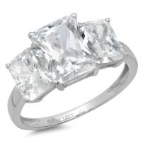 3.97ct Brilliant Emerald Cut 3 Stone Solitaire with Accent Highest Quality Moissanite Ideal VVS1 D & Simulated Diamond Designer Modern Statement Ring Solid 14k White Gold