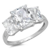 Clara Pucci 3.80 CT Three Stone Emerald Cut CZ Designer Solitaire Ring Band 14K White Gold