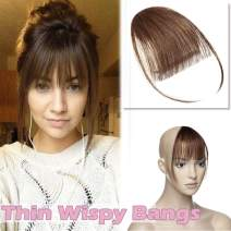 """Clip in Hair Bangs with Temples Thin Clip on Wispy Hair Fringe Extensions One-piece Flat Piecy Air Fringe for Women 5"""" Hairpiece #4 Meidum Brown"""