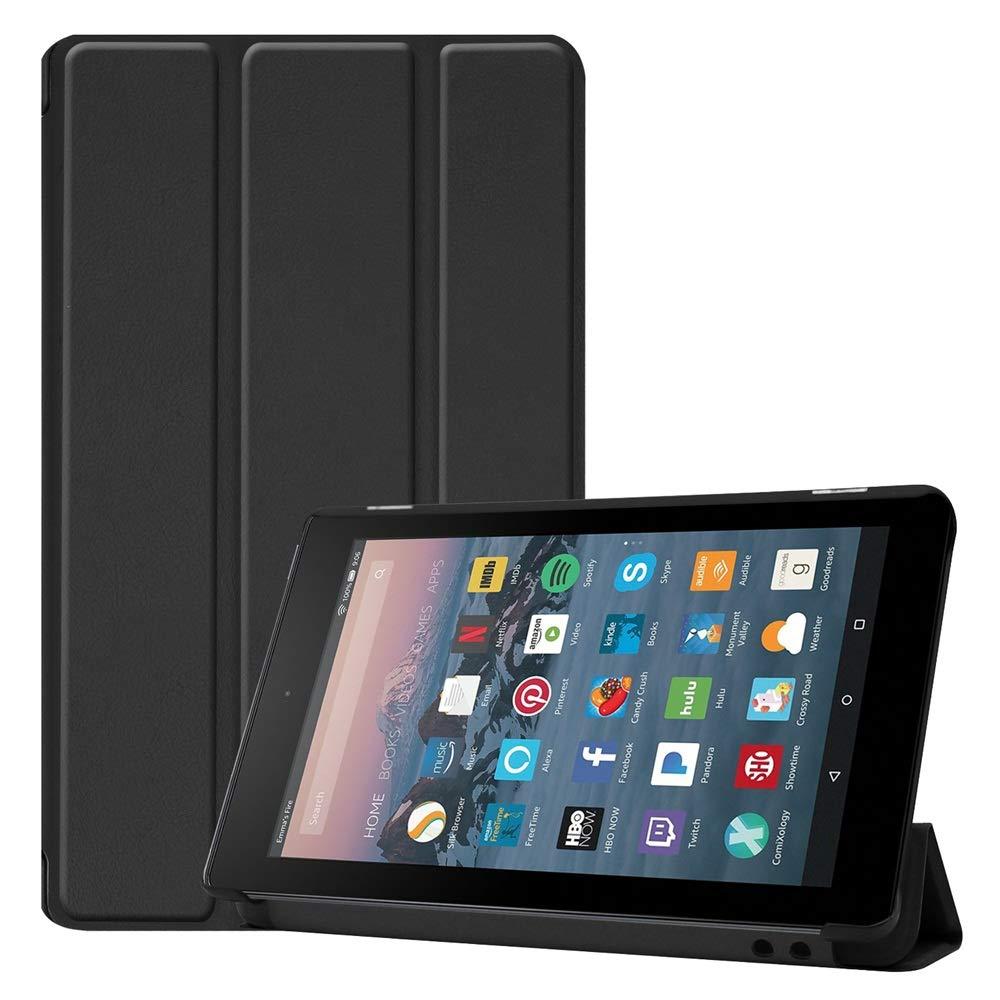 Folio Case for All-New Amazon Fire 7 Tablet (9th Gen/7th Gen, 2019/2017 Release),DETUOSI【Auto Sleep/Wake】Ultra Slim Smart Leather Cover, Universal Amazon Kindle Fire 7 Case 2019/2017,9th/7th Gen#Black