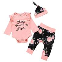 Baby Girl Clothes Infant Outfits Long Sleeve Bodysuit Ruffle Romper Floral Pants with Headband/Hat 3 Pcs