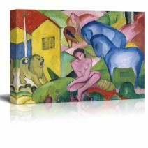 "wall26 - The Dream by Franz Marc - Canvas Print Wall Art Famous Painting Reproduction - 12"" x 18"""