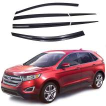 AUTOCLOVER Dark SMOKE Side Window Vent Visor 6 Piece Set for Ford Edge 2015 2016 2017 2018 2019 / Safe RAIN Out-Channel Guard Deflector
