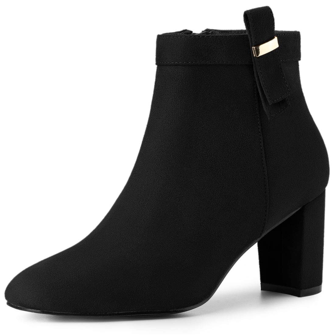 Allegra K Women's Round Toe Chunky High Heel Ankle Boots