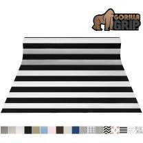 Gorilla Grip Original Smooth Top Slip-Resistant Drawer and Shelf Liner, Non Adhesive Roll, 17.5 Inch x 20 FT, Durable Kitchen Cabinet Shelves Liners for Kitchens Drawers an Desks, Stripe Black White