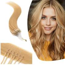 Micro Link Human Hair Extensions Micro Ring Loop Remy Hair Piece Beads Cold Fusion Stick Tipped Hair Fish Line Natural Straight Real Hair Extension For Women 20 inch 50g 100 Strands #24 Natural Blonde