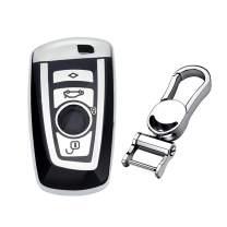 M.JVisun Soft TPU Case Cover Protector Case for BMW Key Fob, Car Remote Key Fob Case for BMW 1-Series 2 3 4 5 6 7 Series X3 X4 M2 M3 M4 M5 M6 Fob Remote Key - Glossy Silver - Metal Keychain