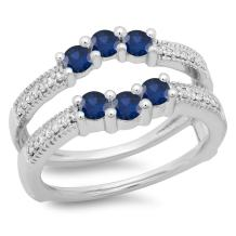 Dazzlingrock Collection 10K Gold Round Cut Blue Sapphire & White Diamond Ladies Wedding Band 3 Stone Guard Double Ring
