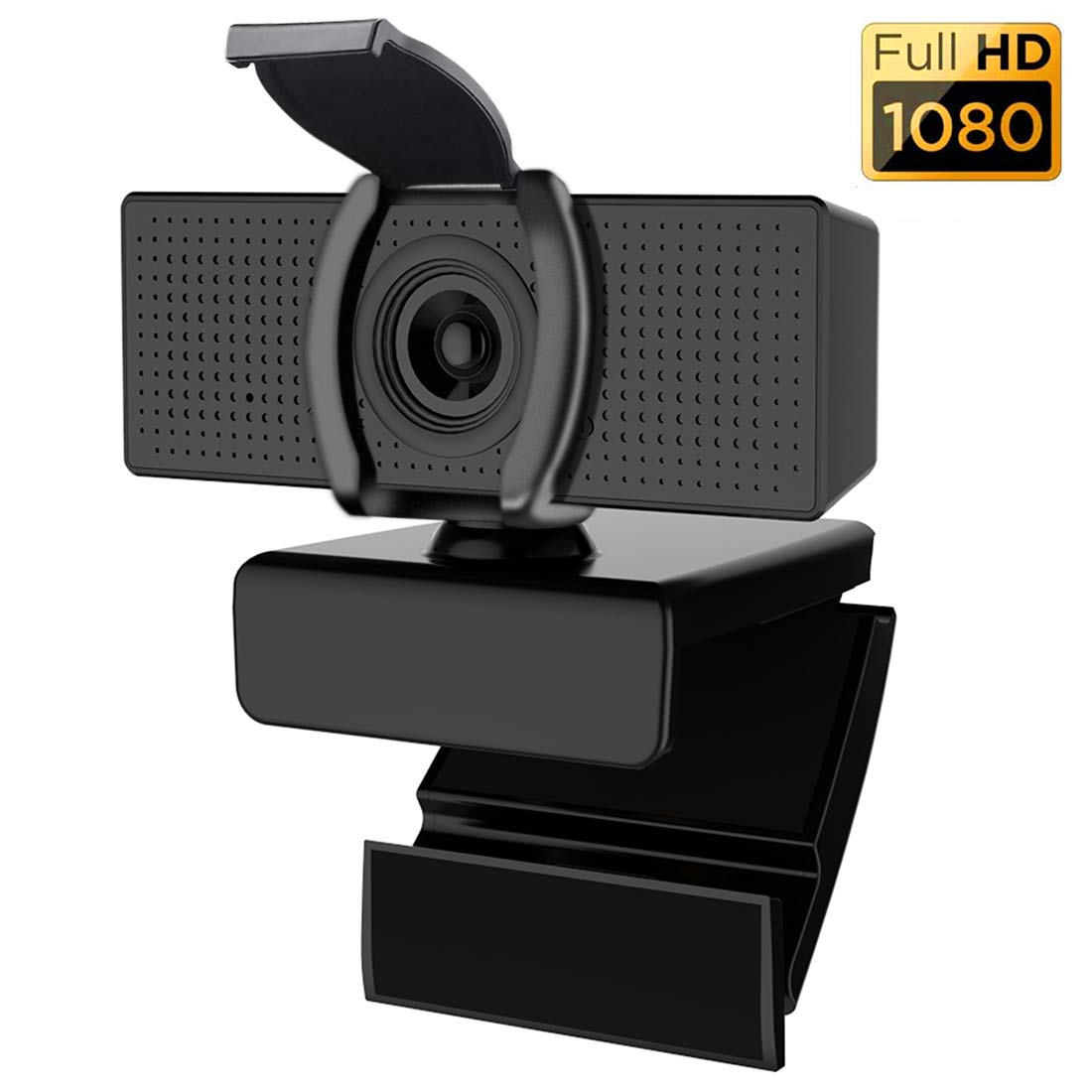 Fixdono Webcam with Microphone & Privacy Cover for Computers and Laptop HD 1080p Widescreen for Video Calling and Recording with USB Camera Webcam