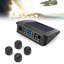 TBVECHI Wireless Tire Pressure Monitoring System TPMS Tire Pressure Monitoring System with 4 External Cap Sensors, Real-time Display Tire Pressure and Temperature and 6 Alarm Function