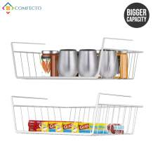 Comfecto Under Shelf Basket, 2 Pack Stainless Steel Wire Rack for Cabinet Thickness Max 1.2 inch, Space Saving Undershelf Cabinet Storage for Organization Kitchen Counter Pantry Bookshelf, Chrome