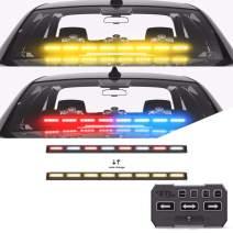 SpeedTech Lights Multicolor Striker TIR 8 Head LED Traffic Advisor Windshield Mount Strobe Light Bar for Emergency Vehicles/Hazard Warning Directional Flashing - Red/Clear Alternating - Amber