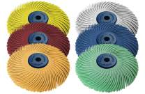 "Dedeco Sunburst - 3"" TC 3-PLY Radial Bristle Discs - 1/4"" Arbor - Industrial Thermoplastic Rotary Cleaning and Polishing Tool, Assorted: 1 of Each 6 Grit Textures (6 Piece)"