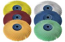 """Dedeco Sunburst - 3"""" TC 3-PLY Radial Bristle Discs - 1/4"""" Arbor - Industrial Thermoplastic Rotary Cleaning and Polishing Tool, Assorted: 1 of Each 6 Grit Textures (6 Piece)"""