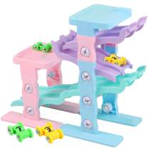 ToyerBee Toy Cars- Ramp Racer with DIY Race Tracks & 4 Mini Gliding Cars, Gift for 3-4 Years Old Toddlers, Boys and Girls