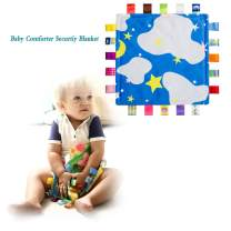 Baby Comfort Security Blanket Taggy Soft Plush Taggies Blankets for Toddler Infant -Cloud and Stars…