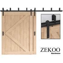 ZEKOO 13 FT Bypass Barn Door Hardware Catch Double Door Kit Rustic Black Steel Metal Rail Roller Set Low Ceiling Bracket (13 FT New Style Bypass kit)