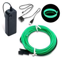 SZMAITOU 16 Feet USB Charger + Battery Controller Neon String Lights, EL Wire Electroluminescent Wire LED Costume Lights for Figure Costume Decoration - 5m/ 16ft, Green