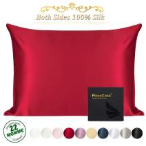 PiccoCasa 22 Momme Silk Pillowcase for Skin and Hair, Both Sides 100% Natural Silk Pillow Case with Envelope Closure, Queen Size Super Soft Slip Cover Red
