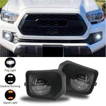 D-Lumina LED Fog Lights Assembly Compatible with TOYOTA TACOMA SR, SR5 2016 2017 2018 2019 2020 2021 - W/Projector LEDs 5500K White 15W Bumper Driving Lamps (White DRL & Amber Turn Signal Indicators)