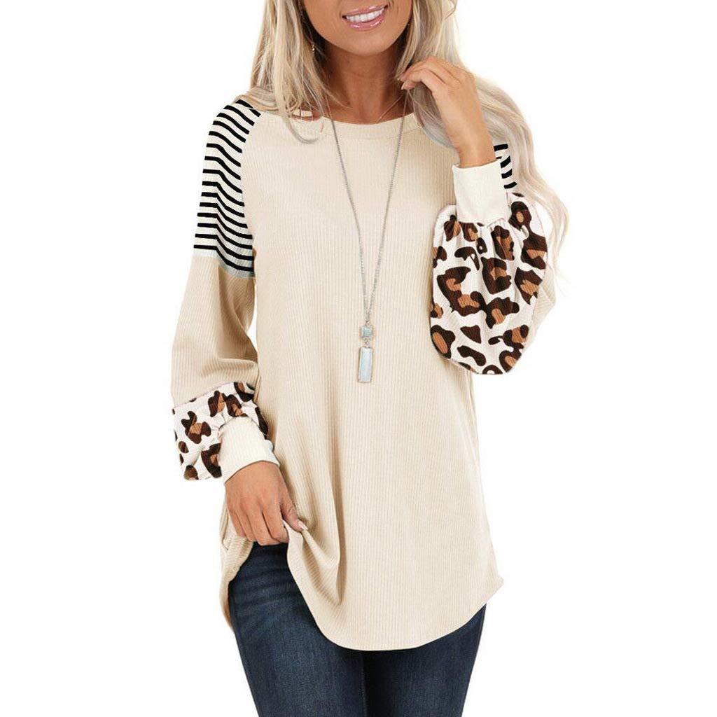 Huaxiafan Women's Leopard Lantern Long Sleeve Stripe Patchwork Raglan Blouse Tops Casual Loose Colorblock Tunic Shirts