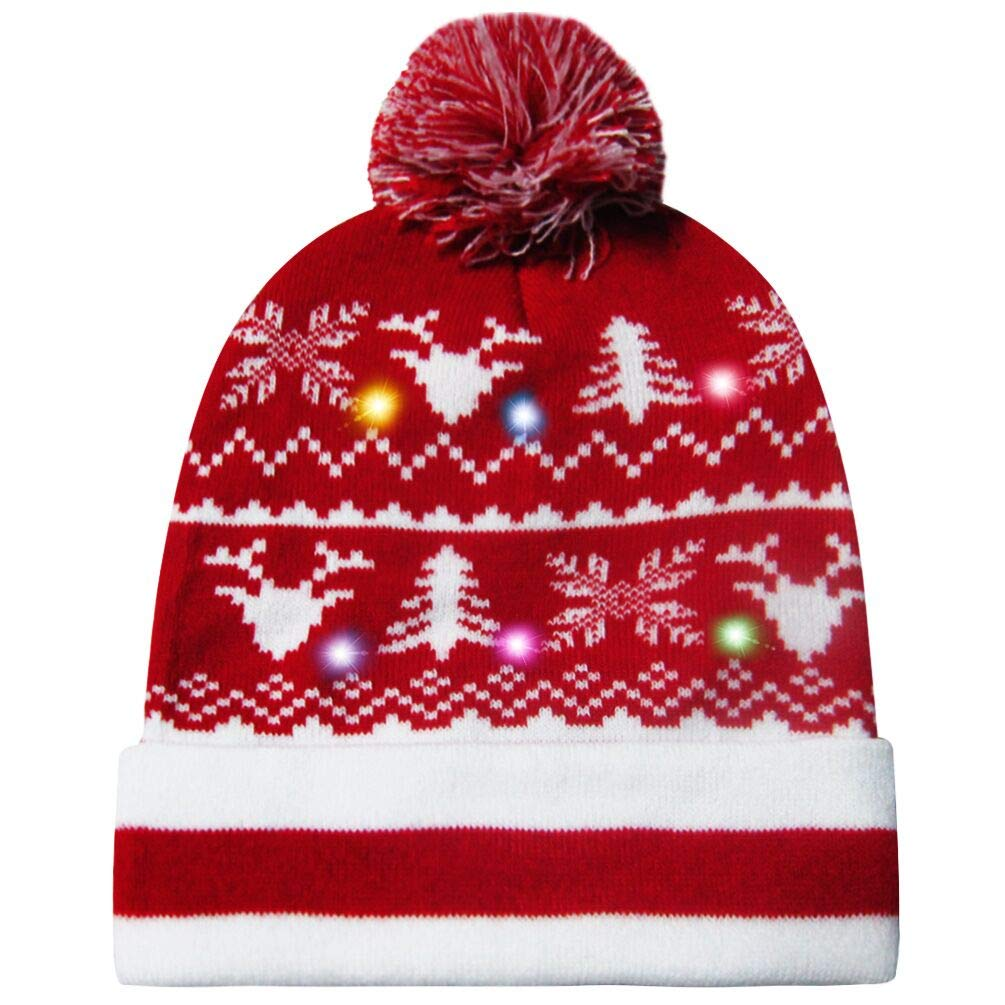 uideazone Unisex Stylish LED Light Up Ugly Christmas Hat Beanie Knit Cap for Indoor Outdoor Festival Holiday Party