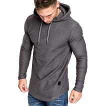ODORKI Mens Fashion Athletic Hoodies Long Slevee Sport Sweatshirt Gym Running Sweatshirt Solid Color Fleece Pullover