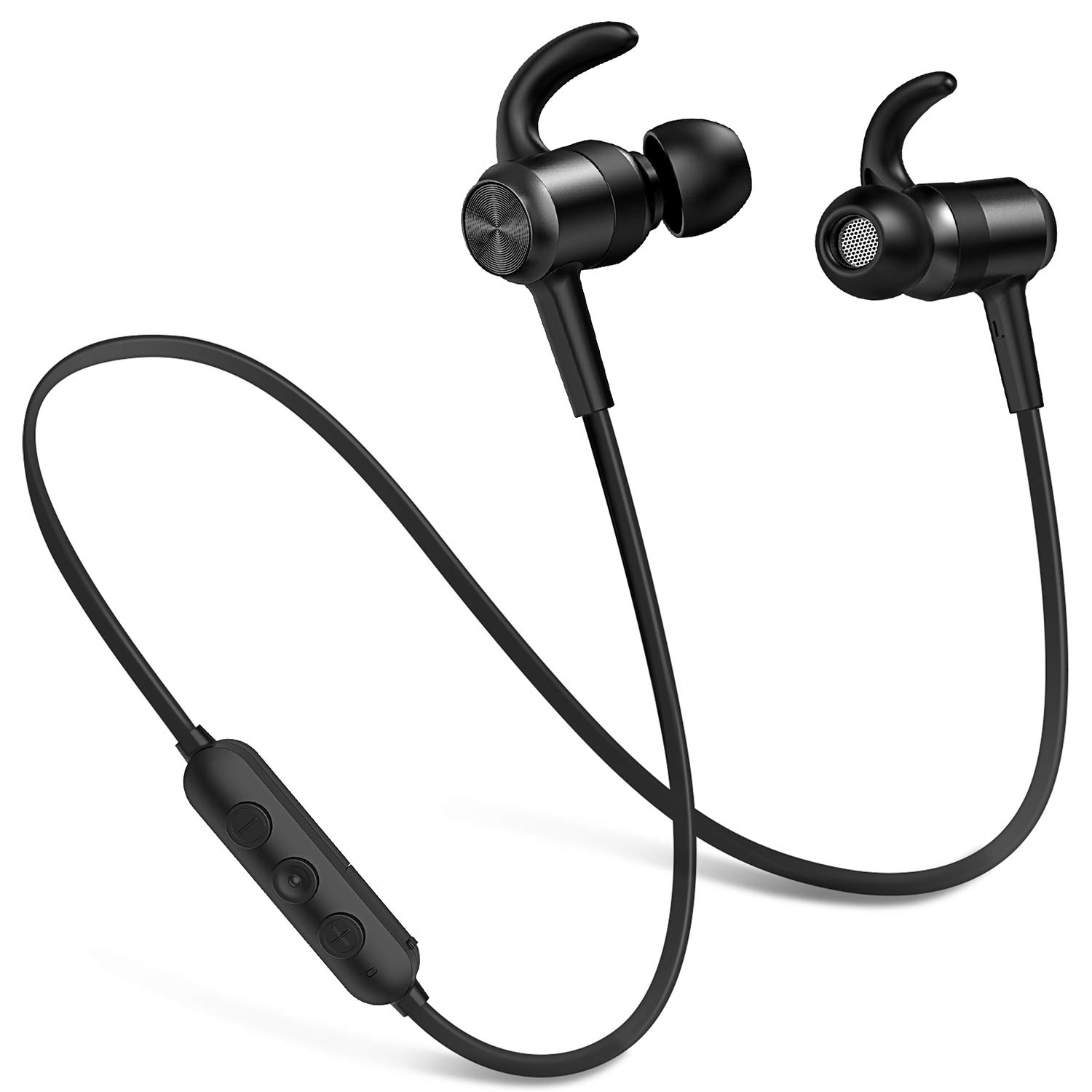 Bluetooth Headphones IPX7 Waterproof 10 Hours Playtime Wireless Earbuds Sports in-Ear Headsets Richer Stereo Magnetic Earphones with HD Mic/Carry Pouch, Secure Fit for Gym Workout Running Online-Black