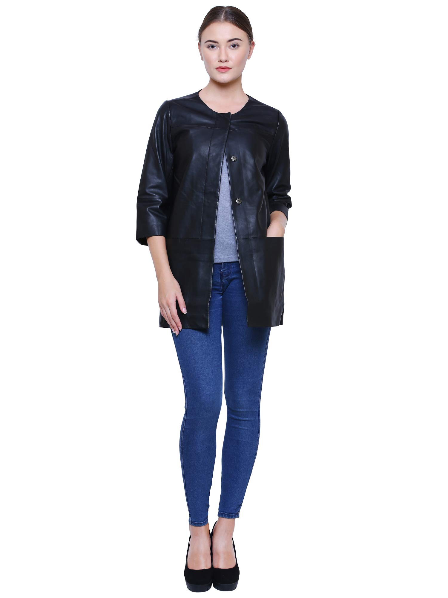 Albapelle Women's Lambskin Leather Walking Overcoat Coat