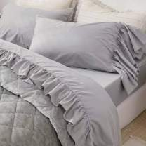QSH Queen's House Ruffled Gray Bed Sheets Set Shabby Deep Pocket Bedding Set Twin Size