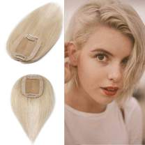 100% Real Human Hair Silk Base Top Hairpiece Clip in Topper Wig for Women Crown in Hand-made Toppee Middle Part with Thinning Hair Loss Hair #60 Platinum Blonde 18''35g