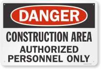 "SmartSign ""Danger - Construction Area, Authorized Personnel Only"" Sign   24"" x 36"" Aluminum"
