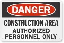 "SmartSign ""Danger - Construction Area, Authorized Personnel Only"" Sign | 24"" x 36"" Aluminum"