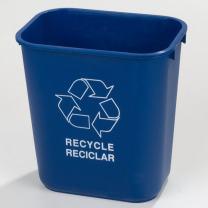 Carlisle 342913REC14 Plastic Recycle Deskside Wastebasket, 13 Quart, Blue (Pack of 12)