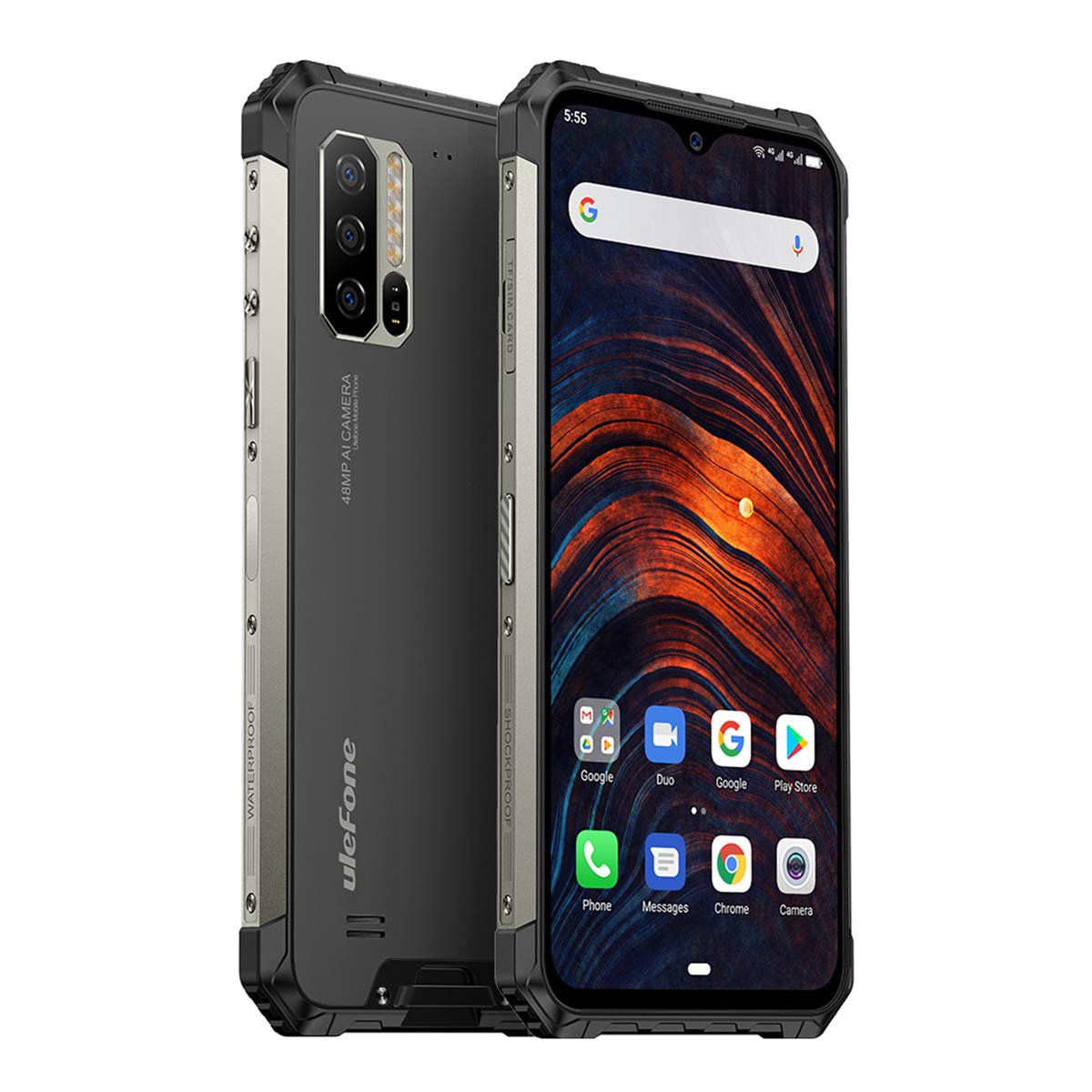 """Ulefone Armor 7 (2020) Rugged Smartphone Unlocked, IP68 Waterproof Cell Phones Helio P90 8GB + 128GB, 48MP + 16MP + 8MP Triple Camera, 5500mAh Battery QI Wireless Charge, 6.3"""" FHD+, Global Bands, NFC"""