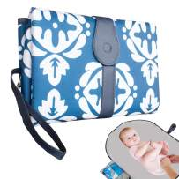 """DailyTreasures 27.5"""" x 20"""" Diaper Changing Pad, Extra Large Portable Waterproof Changer Mat with Side Bag, Holds Diapers and Wipes, Changer Station Use One Hand for Home, Travel, Baby Shower Gifting"""