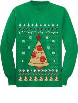 Pizza Ugly Christmas Sweater Xmas Pizza Tree Youth Kids Long Sleeve T-Shirt