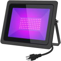 100W UV LED Black Lights Flood Light with Plug(6ft Cable), IP65 Waterproof, for Blacklight Party, Stage Lighting, Aquarium, Body Paint, Fluorescent Poster, Neon Glow, Glow in The Dark (1-Pack)