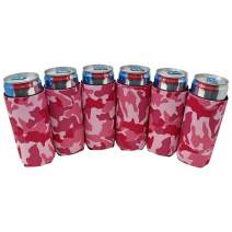 TahoeBay 6 Slim Can Sleeves - Blank Neoprene Beer Coolers – Compatible with 12oz RedBull, Michelob Ultra, White Claw Spiked Seltzer (Pink Camo, 6)