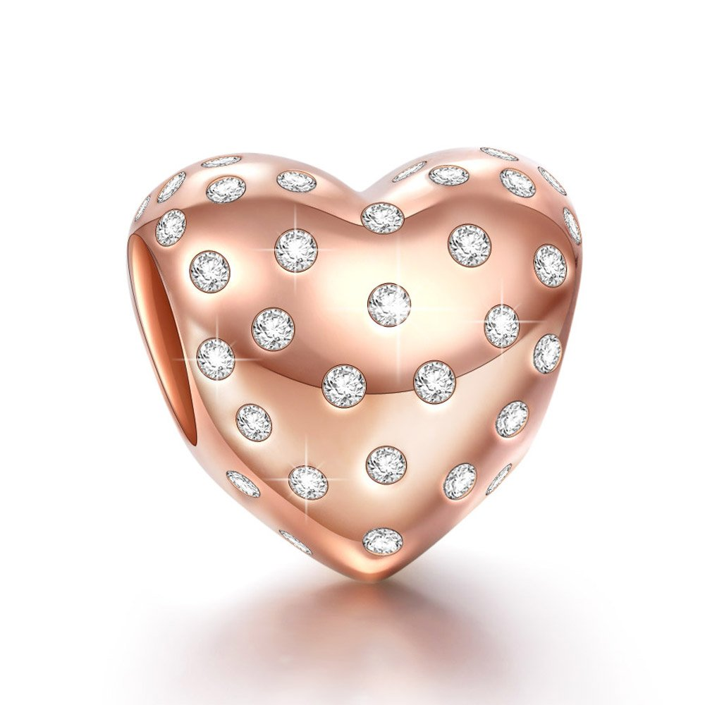 NINAQUEEN Mothers Day Gifts for Mom 925 Sterling Silver Rose-Gold Plated Heart Shape Charms with Twinkling Cubic Zirconia with a Gift Packaging