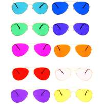 Color Therapy Glasses by Hooga. Aviator Style. Chakra, Mood Light Therapy, Chromotherapy Colored Sunglasses. Strong, Stylish Metal Frame. Protective Case Included. Variety Pack.