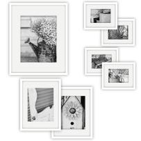 """Gallery Perfect Gallery Wall Kit Photo Decorative Art Prints & Hanging Template Picture Frame Set, Multi Size - 8"""" x 10"""", 5"""" x 7"""", 4"""" x 6"""", White, 7 Piece"""