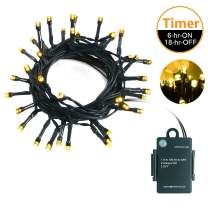 LED String Lights - Battery Operated String Lights- 20FT Waterproof Wreath Lights with 40 LEDs Perfect for Christmas Garland and Xmas Tree Decor - Warm White