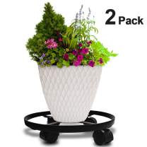 "Amagabeli 2 Pack 14"" Metal Plant Caddy Heavy Duty Iron Potted Plant Stand With Wheels Round Flower Pot Rack on Rollers Dolly Holder on Indoor Outdoor Planter Trolley Casters Rolling Tray Coaster Black"