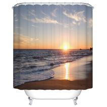 Goodbath 84 Inch Shower Curtain, Beach Sunset Extra Long Shower Curtain Set Waterproof Bathroom Bath Curtains, 72 x 84 Inch, Brown Blue Orange