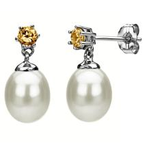 14k White Gold 3mm Simulated Citrine and 8-8.5mm White Freshwater Cultured Pearl Stud Earrings