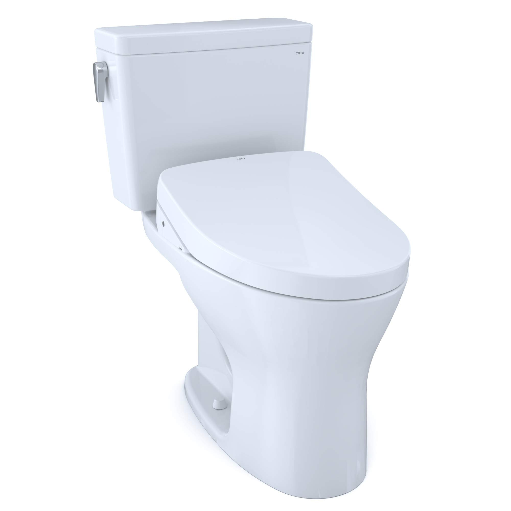 TOTO MW7463056CUMFG#01 Drake 1G WASHLET+ Two-Piece Elongated Dual Flush 1.0 and 0.8 GPF Universal Height DYNAMAX TORNADO FLUSH Toilet with S550e Bidet Seat, Cotton White