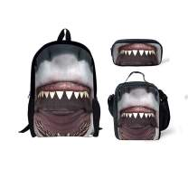 FUIBENG Scary Shark Printing Large Backpacks with Lunch Bags and School Pencil Case