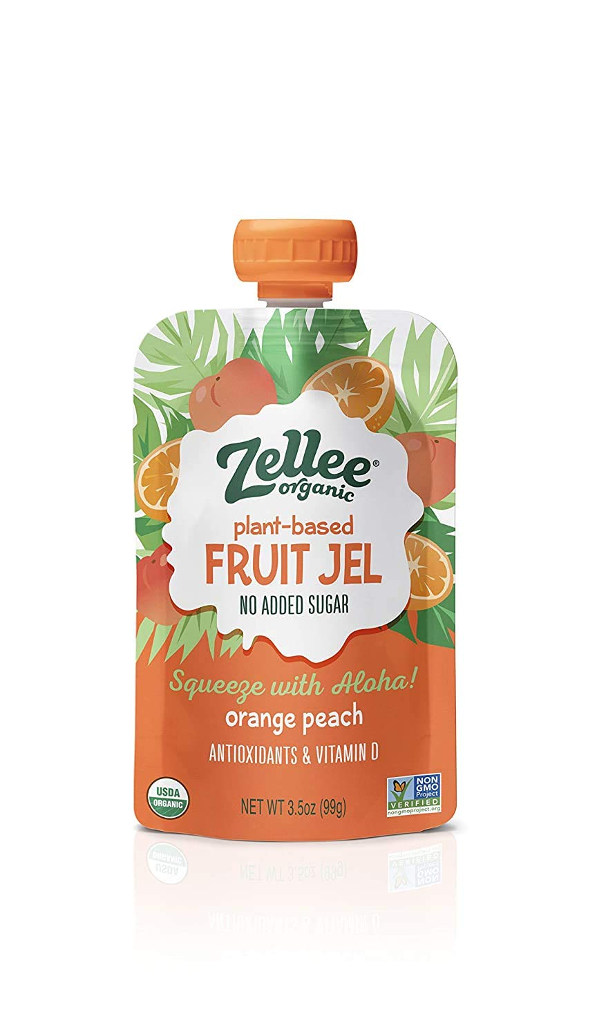 Zellee Organic Fruit Jel Pouches | Orange Peach | 12 pack | Immunity Boosting Vitamins A, C & D | Gluten-Free, Vegan, Plant-Based, No Added Sugar, Antioxidant Rich | Healthy Snack for Adults & Kids
